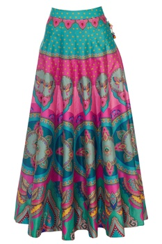 Pink & green butterfly dupion silk maxi skirt