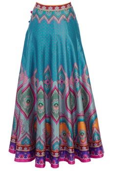 Multicolored dupion silk maxi skirt