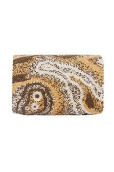 Gold rectangular hand embroidered clutch