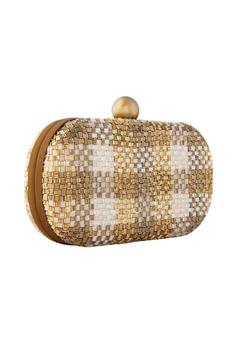 Gold japanese bead embellished clutch