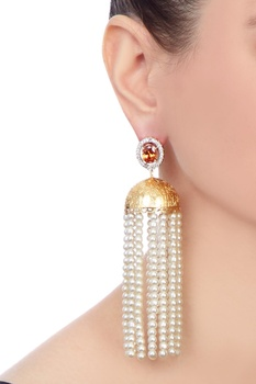 White gold polished & epoxy crystal earrings