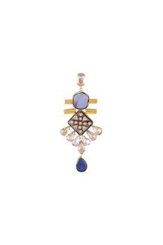 Light blue gold polished & epoxy crystal earrings