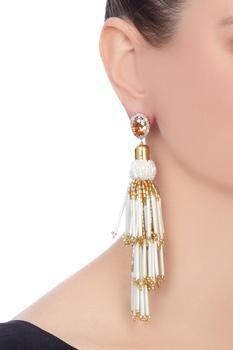 Gold polished & swarosvski crystal earrings