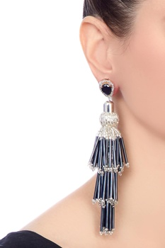 Black gold polished & epoxy crystals earrings