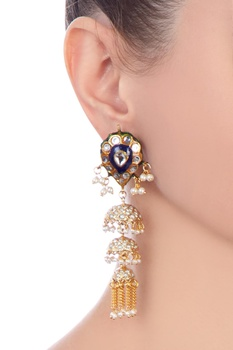 Indigo gold plated & copper pearl jhumki