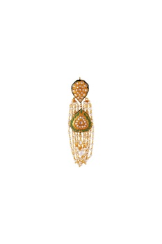 Green gold plated & copper pearl jhumki