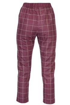 Burgundy linen cigarette pants