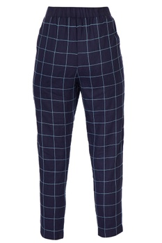Navy blue checkered cigarette pants