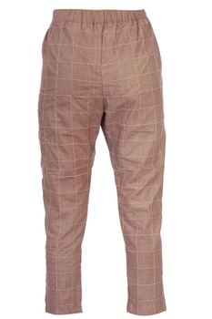 Nude beige checkered cigarette pants