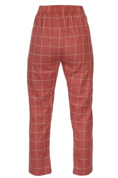 Coral embroidered checkered cigarette pants