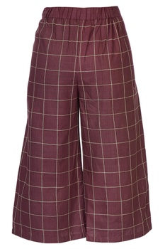 Burgundy linen kantha embroidered culottes pants