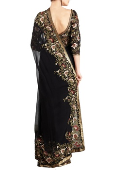 Black & yellow chiffon bead & sequin embellished floral sari with blouse