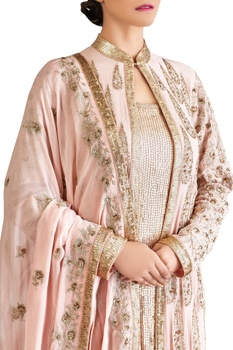 Pink chiffon zari jacket set