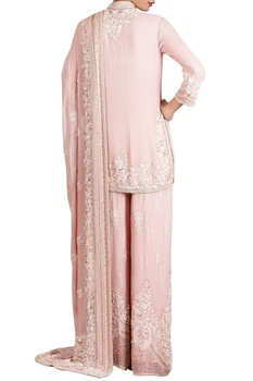 Pink chiffon pearl embellished kurta set