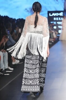 White & black tassel jacket with pants & bustier blouse