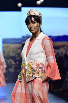 White linen hand embroidered jacket