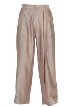 Pink chanderi silk loose fit trousers
