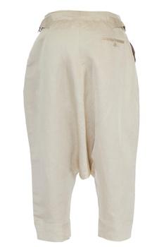 Cream linen drop crotch pants