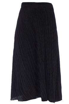 Black ribbed pleated midi skirt
