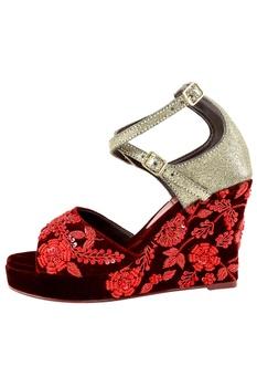 Maroon velvet zardozi embroidered peep-toe wedges