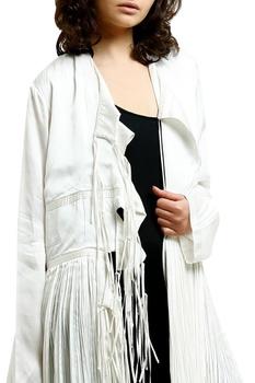 White cotton silk printed cape