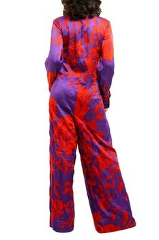 Purple & red printed cotton silk jumpsuit