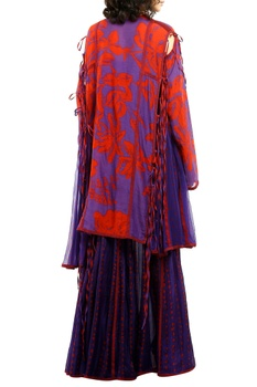 Purple & red printed cotton silk palazzos