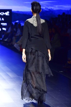 Black organza, crepe & tulle applique skirt with tunic