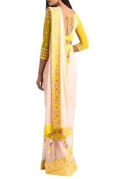 Yellow chiffon beaded sari with lycra satin blouse