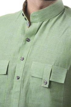 Green linen solid kurta with jodhpuri pants