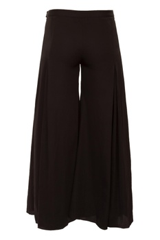 Black gathered pleated flared wide-leg pants