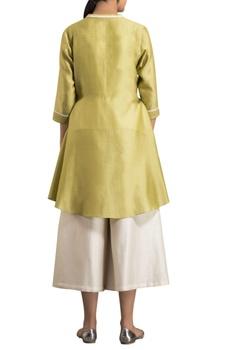 Grass green chanderi dori work open shirt with inner