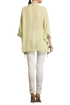 Light green flowy asymmetric georgette blouse
