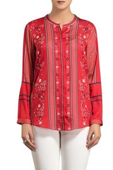 Red poly satin digital printed shirt