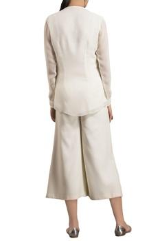 Ivory viscose georgette sequence embellished blouse