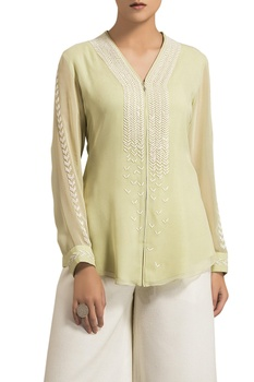 Light green viscose georgette v-neck blouse