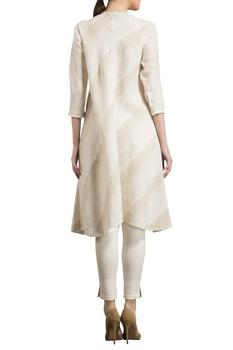 Ivory & beige embroidered kurta set