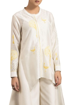 Ivory chanderi tree embroidered asymmetric blouse