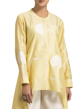 Yellow chanderi tree embroidered asymmetric blouse