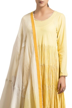Yellow cambric ombre embroidery anarkali with churidar and dupatta