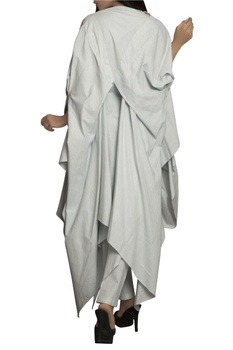 Sky blue handloom thread detailed pant set with cape