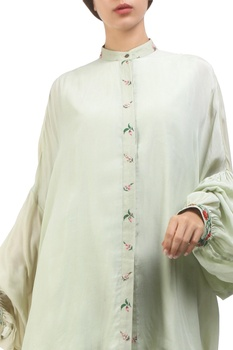Antique jade crepe hand painted balloon sleeve blouse