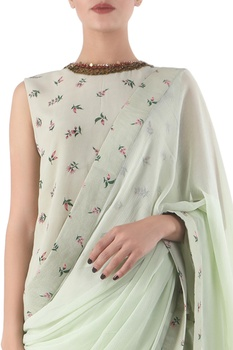 Antique jade chiffon hand painted sari with blouse