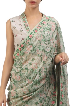 Antique jade chiffon & crepe hand painted sari with blouse