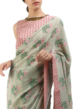 Antique jade & dusty pink crepe hand painted sari with blouse