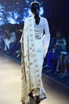 Ivory meenakari sari with corset blouse