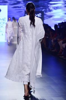 White chikankari choga kurta set