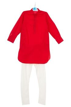 Red embroidered jacket with kurta & churidar