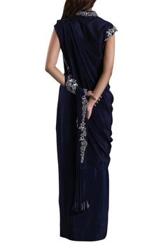 Midnight blue crepe silk draped sari gown