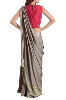 Sage green sharara pants with sari drape & pink blouse